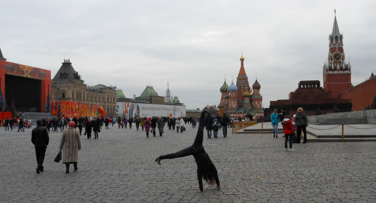 While you wait, though, here's a photo. :) Cartwheel at Red Square, Moscow.