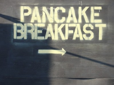 Pancake breakfast sign. photo by Sunday kind