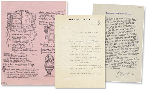 (L-R) Sylvia Plath's journal page describing the Yaddo furnishings on Smith memorandum stationary; letter from Truman Capote to close friend Newton Arvin; letter from Arvin to Capote.