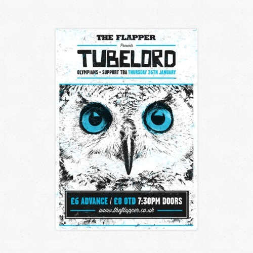 My gig poster design for math-punk band Tubelord at The Flapper