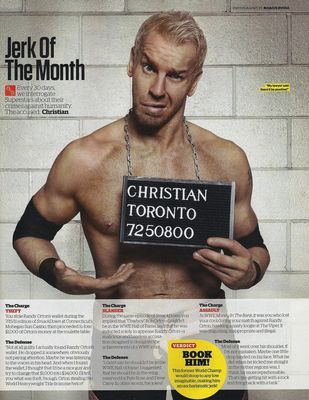 I really really love the mugshots in the WWE Mag's Jerk of the Month column…page..feature thing. And seeing as I'm one of those assholes who loves heels. Jerk of the month…day!  First up, Captain Charisma!