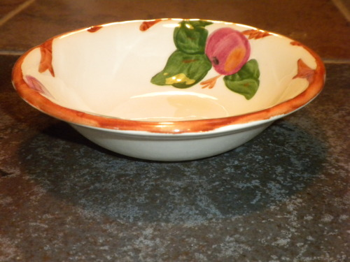 "Hand decorated Franciscan-ware 6"" coupe bowl, $12.00(Replacements.com lists the plate at $15.99 plus $8.99 shipping.) I have one 6"" coupe bowl in excellent condition available for $12.00 Fransican-ware Apple design is part of one of the most popular dinnerware patterns in American history.  These dishes exemplify the informal grace of Southwestern hospitality. The Apple pattern's subtly painted red apples and green leaves are set against a sand background. Please  call 503-724-2538"