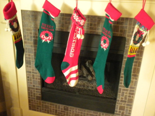 "Five machine knitted Christmas Stockings for $3.50 each.  Two with holly wreaths, same pattern on both sides. 5"" opening, stretches larger, 17"" long.  Three have 5"" opening, stretches larger and are 24"" long, same pattern on both sides. One says ""Merry Christmas"", two say Merry Christmas and have a holly wreath. Please call 503-724-2538 for more information."