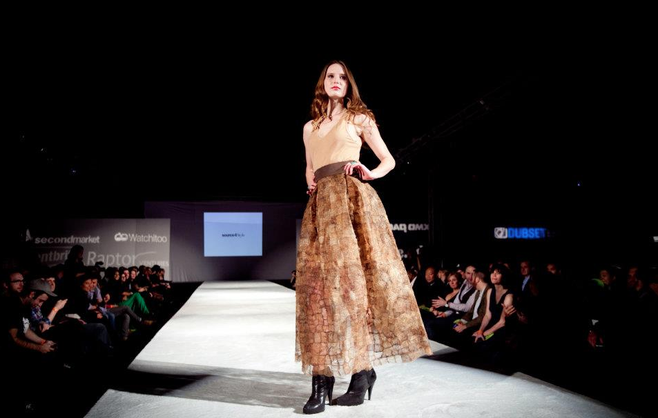 One of the Source4Style-sourced fashion looks (created by Ecco Domani Award winner Tara St. James of STUDY) at the RAISE CACHE event this past November 17th. Silk is CPALI non-woven silk from Northern Madagascar.