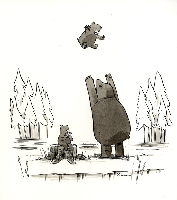 "THE BEARS OF SUMMER. One of the one-hour drawings I've been doing, available for purchasing by you right here. All the ones thus far are here. Subject suggestion for this one: ""Bears."""