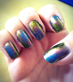 My take on galaxy nails. Orly.