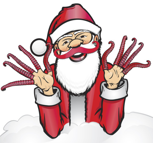 Santa wearing Finger Tentacles and the Tentacle Mustache - Unused art from the Archie McPhee catalog. If you enjoy Geyser of Awesome, we hope you'll consider an order from Archie McPhee this holiday season. We use everything we post on this blog as inspiration for our products. Our company mission is to make the world more awesome! Check us out now!