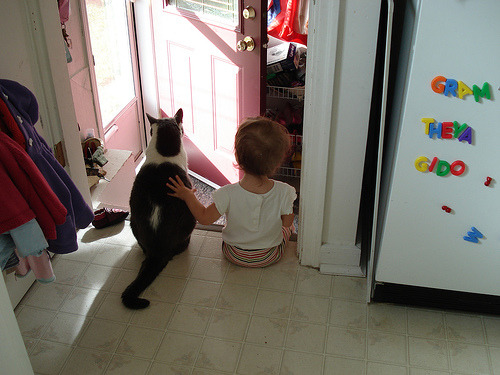 """Don't worry, little human. You're not available for adoption. You're mine."" Photo by ©Chair"