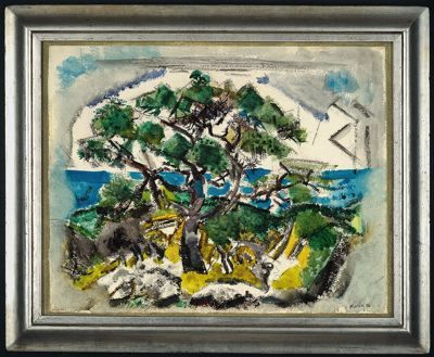 John Marin American, 1870-1953 The Pine Tree, Small Point, Maine, 1926 Watercolor with blotting, black pencil, and charcoal on moderately  thick, slightly textured, off-white wove paper (trimmed top edge), in  original frame 441 x 556 mm http://www.artic.edu/aic/collections/exhibitions/Marin/artwork/110865