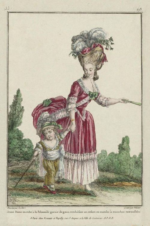 Gallerie des Modes, 1780.  What a wonderfully puff skirt!  Cute kid, too!