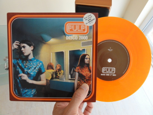 "About to spin Pulp's ""Disco 2000/Ansaphone"" , UK 7"" orange #vinyl. Very limited edition."