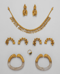 Ganymede Jewelry, Hellenistic, 330–300 B.C. Greek Gold, rock crystal, emerald