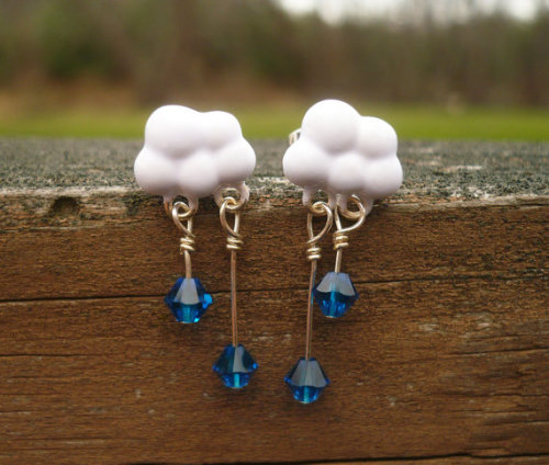 echoesofnature:  Spring Rain Cloud Dangly Post Earrings by EchoesofNature on Etsy