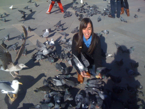 St. Marks Square.. Playing with the birds.