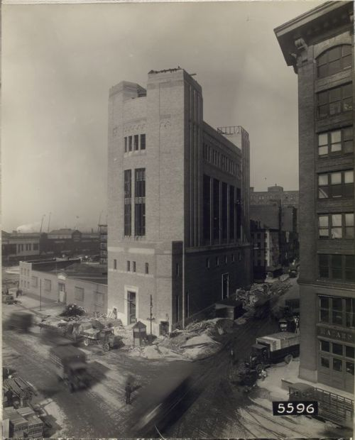 "decoarchitecture:  Land Ventilation Building, NYC, New YorkHistoric 1926 Photo Actual photo of that ventilation building built as part of the Holland Tunnel. It's still there today — right across from Canal Park. From one of the NY Public Library's many, many amazing photo archives, ""Photographs of the construction of the Holland Tunnel, 1919-1927."" From the database:  Contract No. 13. Land ventilation building, Brick work complete. West side of Washington Street, between Spring and Canal Streets, New York, 11/17/26, 12:00 noon."