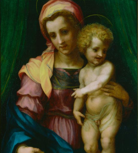 "Today I discovered ""Ugly Renaissance Babies,"" the blog. uglyrenaissancebabies:  Andrea d'Agnolo, 1515, Madonna of the Holy Fucking Bird-Faced Christ"