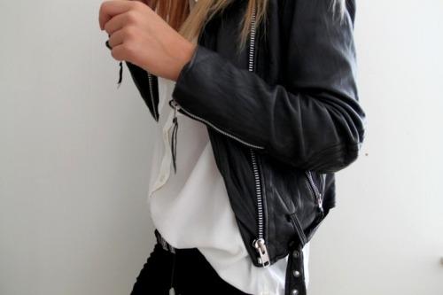 fashion white style black Leather jacket