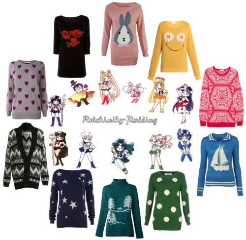 Kitschy Sailor Moon-inspired sweaters because reasons. Pieces here + more sets.