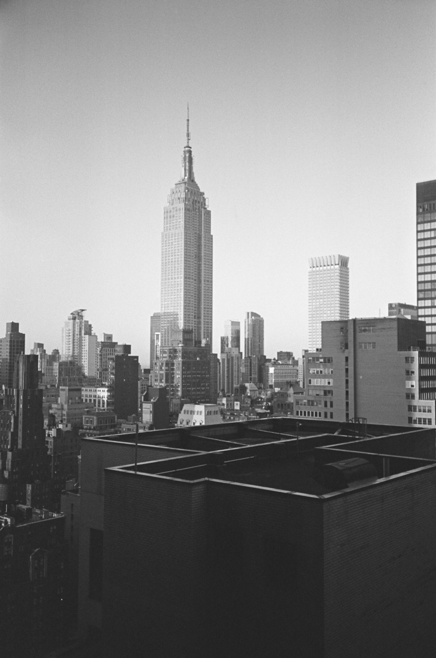 bagnostian:  i like the shades of grey. empire state building from the 24th floor, on third avenue. (Yashica T3)  Simple.