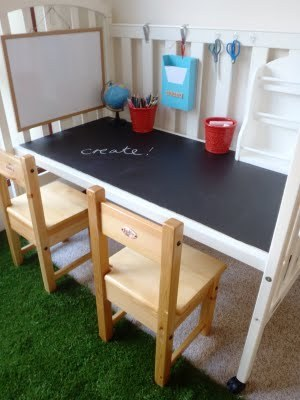 Crib to Creative Station : A Little Learning For Two I love seeing a good crib re-use and this is my favourite to date. Simple too! Visit the blog post for he she did it.