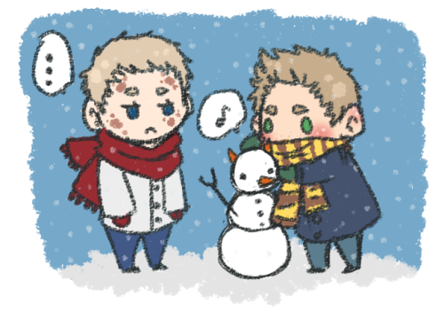 mewmewgorawr:  SNOWMEN-ANGELS-DEVILS..? Luci's expression could be credited to one of two things: The fact that he looks like a human marshmallow in that jacket, Or because of Deans crudely made snow-man representation of him. You decide.