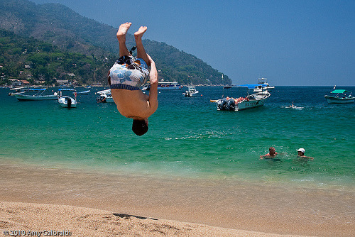 backflip at the beach.