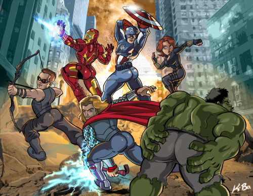kevinbolk:  As promised, here's the Avengers parody (namely of this promo image of the movie) I'd been working on. Those are some strong male characters. Am I right, ladies?