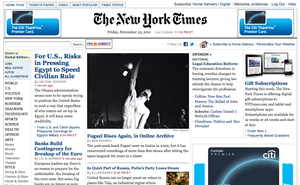 soupsoup:  Fugazi is the lead story on the New York Times. Did Lester Bangs take over for Abramson?  Kudos to the times.