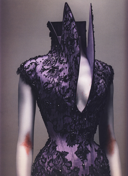 Dante, Alexander McQueen F/W 1997a lilac silk corset with black lace and embroidered with jet beads