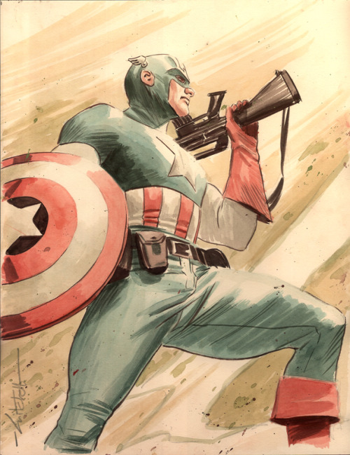 comicsforever:  Captain America // artwork by Mitch Breitweiser (2009)