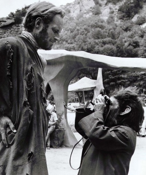 Charlton Heston and some damn, dirty ape on the set of Planet of the Apes (1968, dir. Franklin J. Schaffner) Photo by Dennis Stock for Magnum.