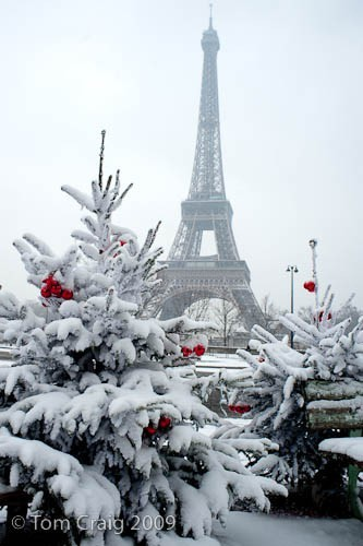 midnightinparis:  fresh snow at the eiffel tower