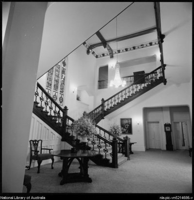 Angled view of interior entrance hall of Government House, Perth, Western Australia ca. 1970 - Stacey, Wes (Wesley), 1941-