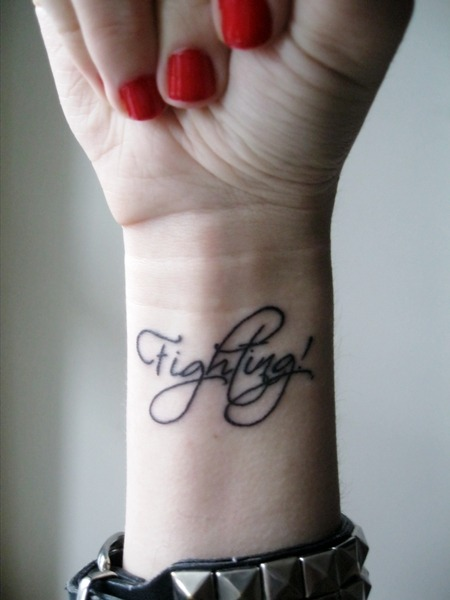 fuckyeahtattoos:  My second ink. 'Fighting' meaning - 'go for it'. It's a reminder for myself, that at tough times no family, friends, strangers or anyone could support you better than yourself. Find the inner strenght and go for life! Originally this word i saw used by koreans, and some idols inspired me to fight even more for the dreams (: Took me waiting for 2 hours to get a 20min tattoo D: made by Tolik @EddyTattoo salon, Lithuania :3