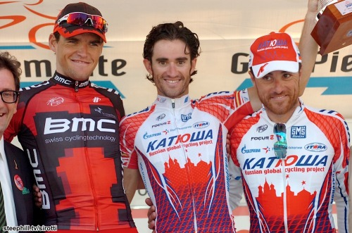 Your 2011 Giro del Piemonte podium: 2nd Greg Van Avermaet (BMC Racing Team), 1st Daniel Moreno (Katusha) and 3rd Luca Paolini (Katusha)