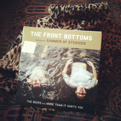"Gaines St. swag: a Front Bottoms 7"" from Retrofit Records and a cheetah-print sweater bought for cheap."