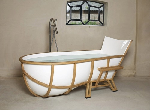 The Frame of a Chair Into a Bathtub |