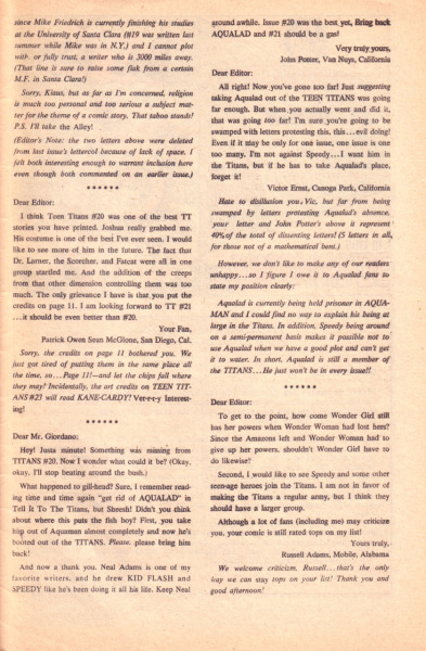 Letters page from Teen Titans #22 (August 1969), part 2