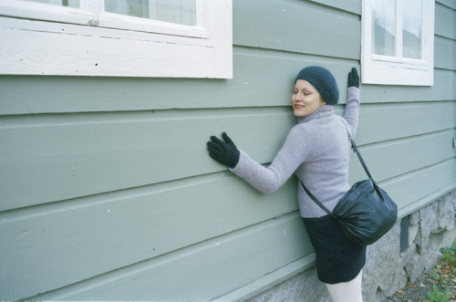 me and maarit have mutual love for wooden houses. kokkola, october 2011