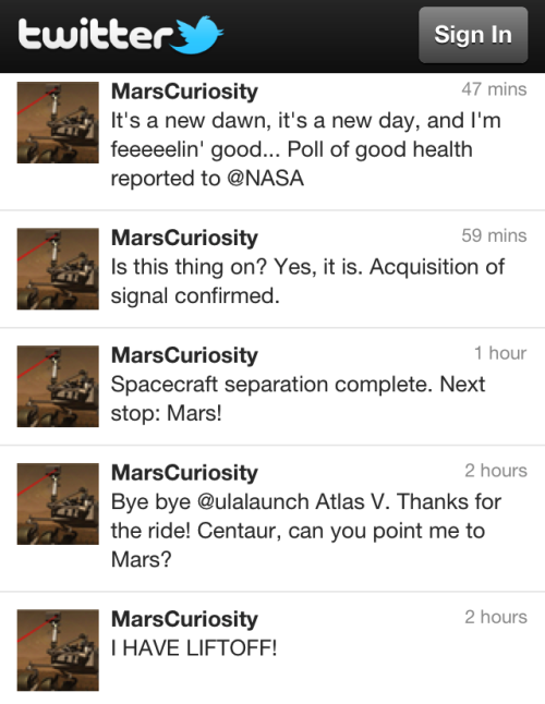crookedindifference:  Mars Curiosity has liftoff! Follow the twitter feed at @MarsCuriosity