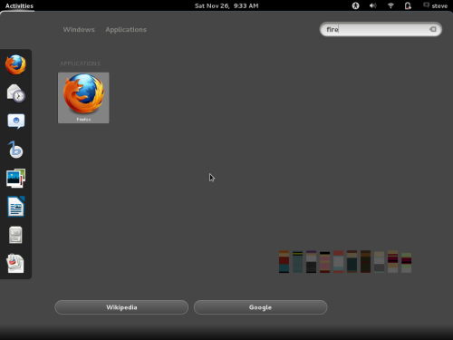 screenshot of GNOME 3 Activities area