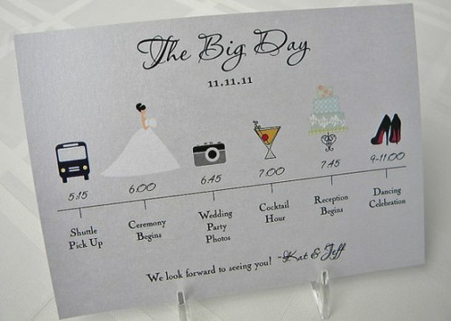 Cute wedding day itinerary
