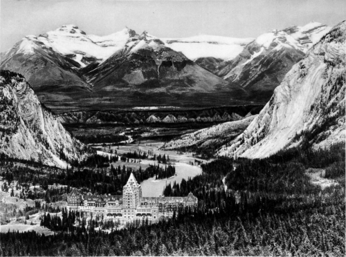 Bow River Valley with Banff Springs Hotel, Alberta, 1924