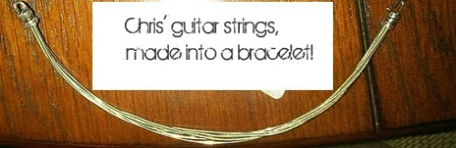 ntftreehuggers:  Today's featured item is really unique! It's guitar strings, donated by Chris himself! They've been made into a guitar string bracelet! It fits most wrists, which makes it the perfect gift and its in Auction #1! For more info, visithttp://tinyurl.com/NTFauction. All money from the auctions will be going to To Write Love On Her Arms. To learn more about TWLOHA, visit http://twloha.com/. Auctions start in just 9 days!