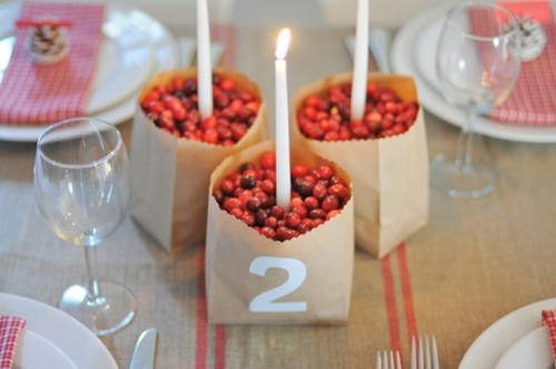 This is a great cost-effective idea for a winter-themed centerpiece.  All you need is candlesticks, brown paper bag, and cranberries.