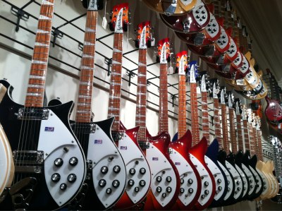 inkcreative:  Chicago Music Exchange wall o' Rickenbacker.