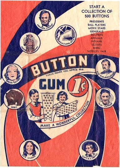 1930 Button Gum 1¢ Wrapper