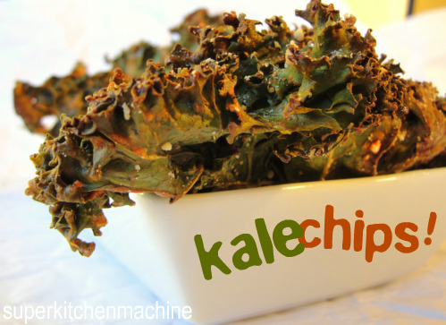 Yeah for Kale Chips!  Put down those potato chips and try this healthy snack while you are watching TV! Check out our version here » healthy-mind-healthybody:     1 bunch kale 1 tablespoon olive oil 1 teaspoon seasoned salt.    Directions Preheat an oven to 350 degrees F (175 degrees C). Line a non insulated cookie sheet with parchment paper. With a knife or kitchen shears carefully remove the leaves from the thick stems and tear into bite size pieces. Wash and thoroughly dry kale with a salad spinner. Drizzle kale with olive oil and sprinkle with seasoning salt. Bake until the edges brown but are not burnt, 10 to 15 minutes.    Nutritional Information  Amount Per Serving  Calories: 58 | Total Fat: 2.8g | Cholesterol: 0mg