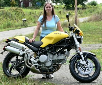 Another Monster owning lady named Alicia. This time it's a sweet 2005 Ducati S2R.  This bike grabbed my heart the first time I saw it … I had to have it.