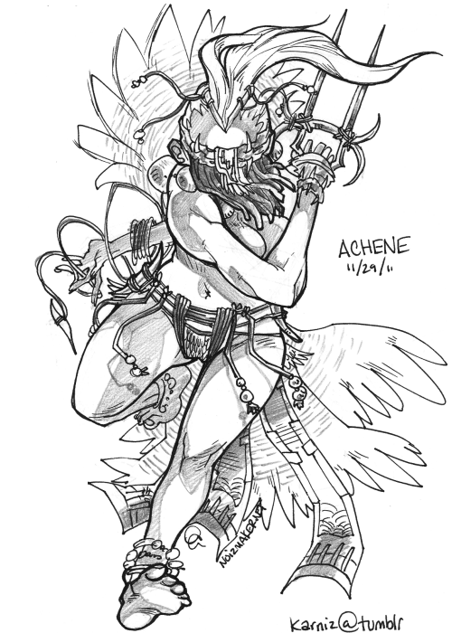 "30 Characters in 30 Days Challenge: Character #29 Achene is the Chieftain of the Wildlands.The Universe the characters I will draw is one of ""Nature vs. Sci Fi""."